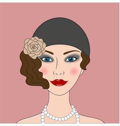 flapper girl retro 20s-30s style portrait vector image