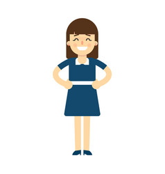 happy young woman with hands on waist gesture vector image vector image