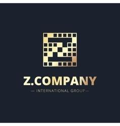 Metal style geometric z letter logo vector