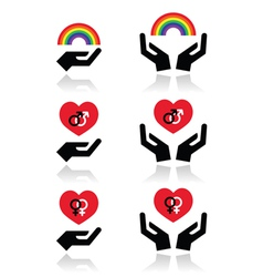 Rainbow gay and lesbian symbols in heart with vector image