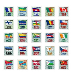 set of national stamps 02 vector image