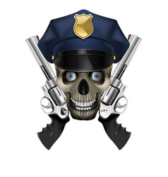skull in a police cap and revolver vector image