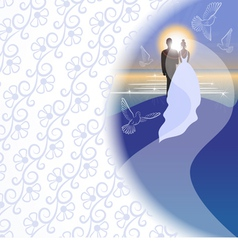 White background with bridegroom bride pigeons vector image