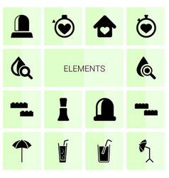 14 elements icons vector image