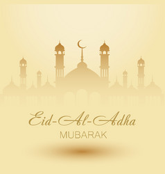 aid al adha greeting card template with mosque vector image