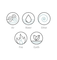 ayurveda elements icons set symbols vector image
