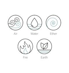 Ayurveda elenemts icons set symbols vector