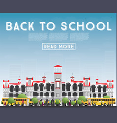 back to school banner with school bus building vector image