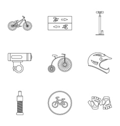 Bike icons set outline style vector image