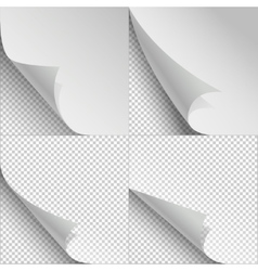 blank sheets paper with page curl and shadows vector image