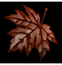 Brown volumetric maple leaf closeup vector image