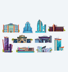 buildings icons city hotels and night clubs set vector image