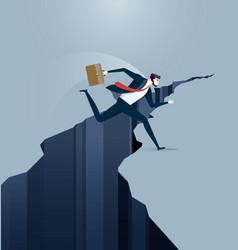Businessman jumps over gap vector