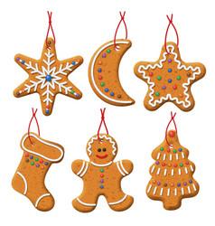 christmas gingerbread set vector image
