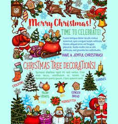 christmas tree sketch poster of new year holiday vector image
