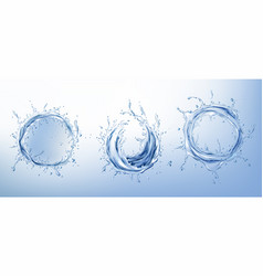 clear water circle splashes realistic set vector image