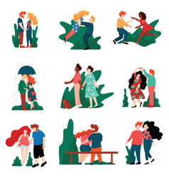 collection happy young men and women on dates vector image