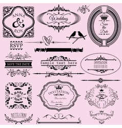 Collection of wedding calligraphic frames and vector
