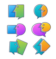collection talking speaking chatting and vector image