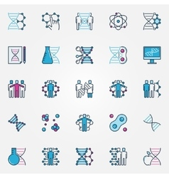 Colorful bio-tech icons vector