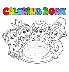 Coloring book thanksgiving image 3 vector