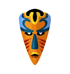 coloured african ethnic tribal mask on white space vector image