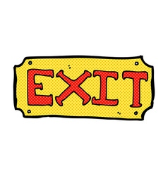 comic cartoon exit sign vector image