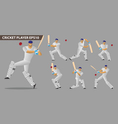 concept of a cricket players set vector image