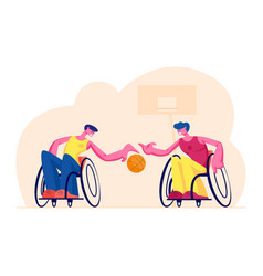 Couple disabled paralyzed men playing vector