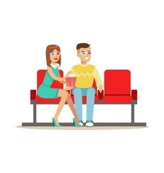 Couple Sitting In Cinema Room Wathing A Movie vector