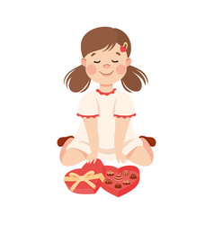 Cute girl with chocolate candies in heart shaped vector