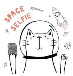 Cute space cat vector