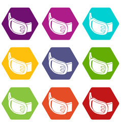 double buckle belt icons set 9 vector image