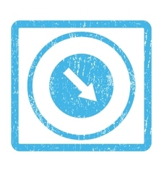 Down-Right Rounded Arrow Icon Rubber Stamp vector