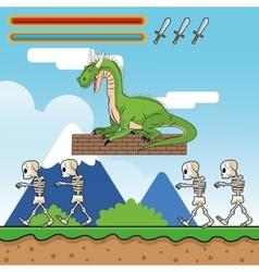 Dragon skull and videogame design vector image