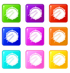 Drum icons 9 set vector