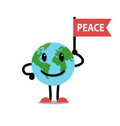 earth planet smile and flag peace character vector image