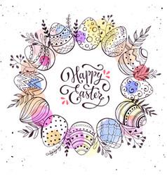 easter eggs wreath vector image
