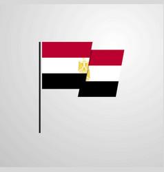 egypt waving flag design background vector image