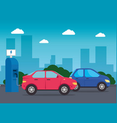 electric vehicles cars in charging station road vector image