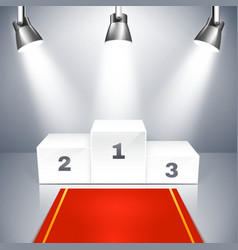 Empty winners podium with spotlights vector image