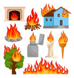 flaming and burning objects set sources of fire vector image