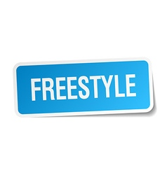 Freestyle blue square sticker isolated on white vector