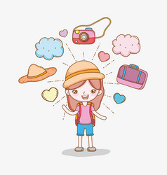 Girl with camera and baggage to wanderlust vector