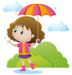 Girl with umbrella in the park vector