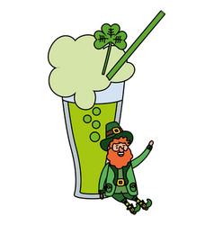 green beer and leprechaun vector image