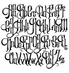 handwritten gothic font for unique lettering vector image