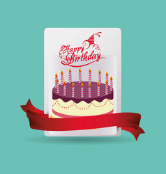 happy birthday card cake celebration vector image