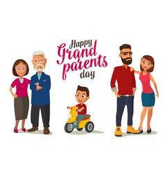 happy family parents grandparents and child on a vector image