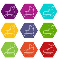 ice hockey skate icons set 9 vector image